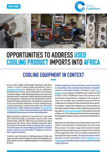 Opportunities to Address Used Cooling Product Imports into Africa
